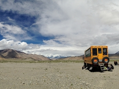 Panoramic view of our bush camp; Karakoram Highway