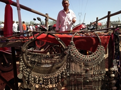 Silver jewelry on display; Kashgar Sunday Market