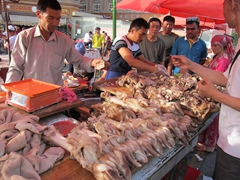 Stomach and hooves...nothing goes to waste at the Kashgar night market