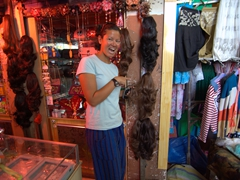 Yes! Fake hair for sale at the Kashgar bazaar