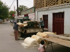 Uigurs spinning wool; Turpan