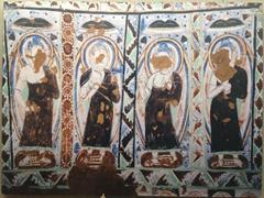 Defaced Buddha painting; Turpan Museum