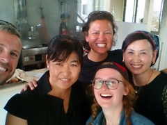 Taking a selfie with our friendly waitress and chef (and Kate P is smiling which is a rare sight!); Chongqing