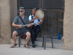 Kevin provides some impromptu entertainment; Bezeklik Thousand Buddha Cave complex