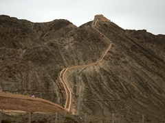 Our first view of Jiayuguan - the westernmost section of the Great Wall of China