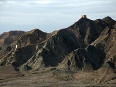 Distant view of another section of the Great Wall of China; Jiayuguan