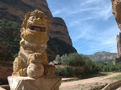 Lion statue; Bingling Thousand Buddha Caves