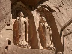 Carved Buddhas; Bingling Thousand Buddha Caves