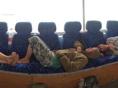 Chair hogs - Robby, Lars and Ichi sprawl out on a whopping 9 seats on Habibi, our faithful Istanbul - Beijing transport