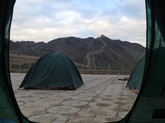 6 am view of the Great Wall from our tent; Jiayuguan