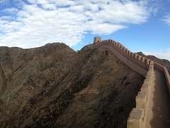 Panoramic view of the Great Wall of China; Jiayuguan