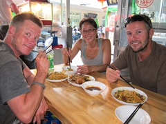 Lars, Ichi and Robby enjoying a tasty meal at the Dunhuang night market