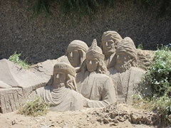 Sand sculptures; Singing Sand Dunes of Dunhuang