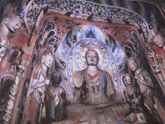 Phenomenal interior view of one of the 492 caves of Mogao