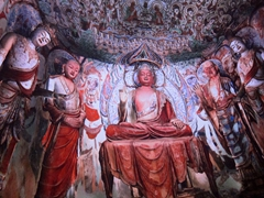The Mogao Caves contain some of the finest examples of Buddhist art spanning a period of 1000 years