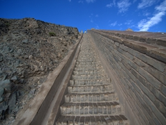 A view of the steep section of Jiayuguan's Great Wall of China