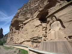 View of the 100 feet tall Great Maitreya Buddha; Bingling Thousand Buddha Caves