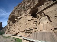 View of the 100 feet tall Great Maitreya Buddha; Bingling Thousand Buddha Caves