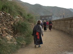 Pilgrims visiting Labrang Monastery in the early morning