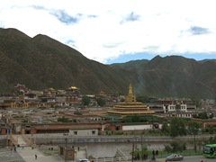View of Xiahe from a nearby hillside