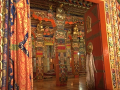 Interior prayer hall; Langmu Monastery