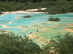 Turquoise mineral pools; Huanglong National Park