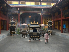 Temple interior; Huanglong National Park