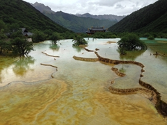 Natural mineral pools of Huanglong National Park