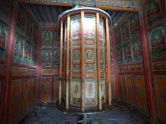 Spinning prayer wheel; Labrang Monastery