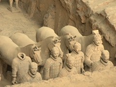 Terracotta warriors and horses on display at Pit One; Xi'an