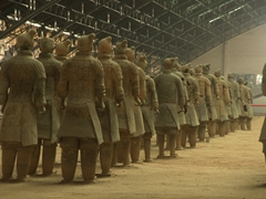 Newly restored terracotta warriors soon to be on display in Pit One; Xi'an