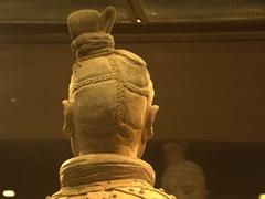 Ornate hair detail of kneeling archer terracotta warrior