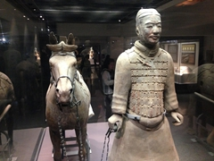 Detail of a terracotta warrior and his horse