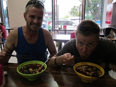 Robby and Lars enjoying their spicy dumpling soup in Xichang