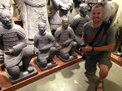 Robby next to some pricey terracotta souvenirs