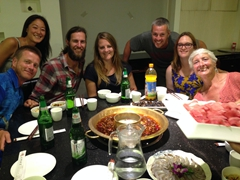 Hot pot farewell dinner with Lars, Ichi, Kyle, Tig, Robby, Gill and Connie