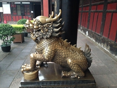 Golden dragon; Wenshu Yuan Monastery in Chengdu