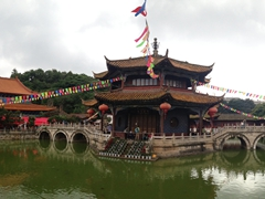 Panoramic view of pretty Yuantong Temple, the grandest and most important Buddhist temple in Yunnan Province