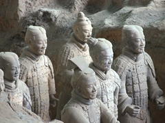 The Terracotta warriors are a collection of figurines replicating the armies of Qin Shi Huang, the first Emperor of China; Xi'an