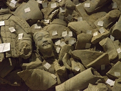 Fragments of soon to be restored terracotta warriors; Pit Two