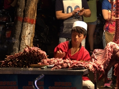 Beef skewers for sale at the night market; Xi'an