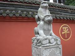 Monkey statue outside Wenshu Yuan Monastery; Chengdu