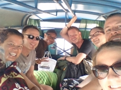 Our crowded songthaew ride to Phou Lu III Bungalows in Luang Namtha