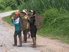 Friendly girls wave a greeting on our ride out to Muang Sing