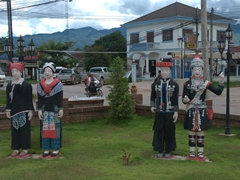 Ethnic tribal statues in Muang Sing