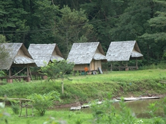 Simple huts; Muang Sing