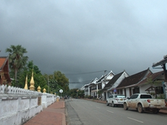 Dark clouds threaten to downpour during rainy season in Luang Prabang