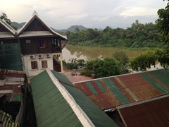 View of the Mekong River from our bedbug infested room; Luang Prabang