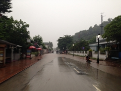 Within minutes, the streets of Luang Prabang are flooded