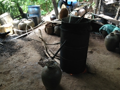 The making of Lao Whisky (boiling fermented rice)
